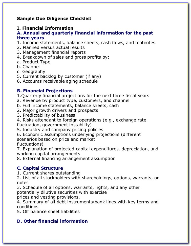Due Diligence Report Sample Financial