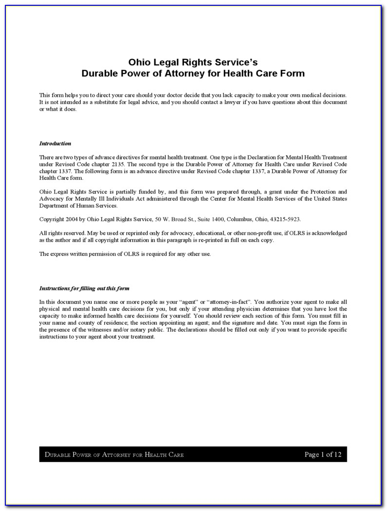 Durable Power Of Attorney California Doc