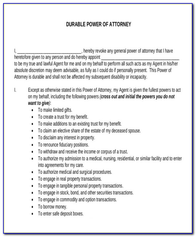 Durable Power Of Attorney Document Free