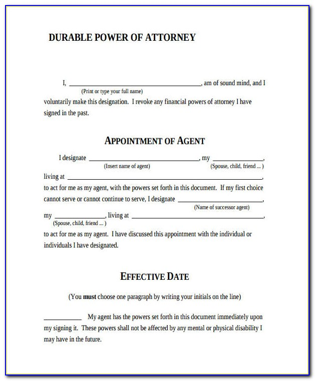 Durable Power Of Attorney Florida Example