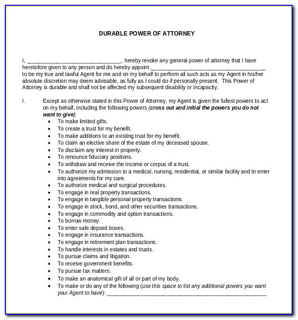 Durable Power Of Attorney Forms Free