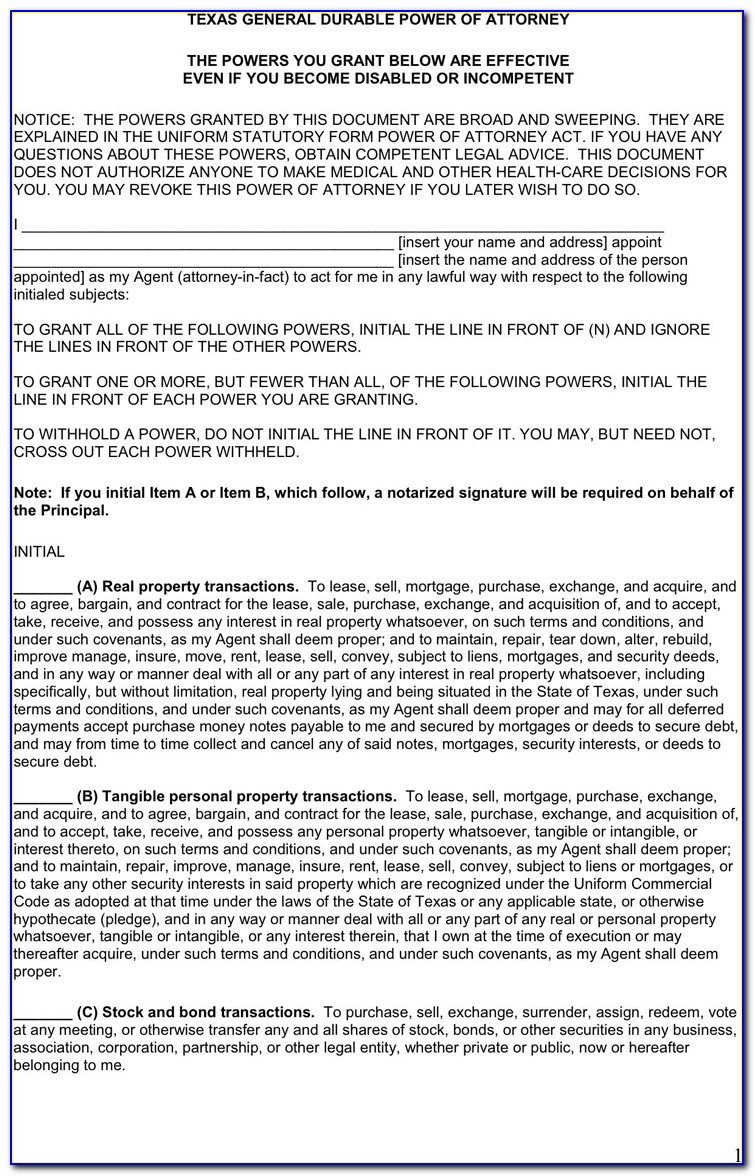Durable Power Of Attorney Template California