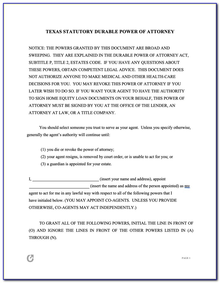 Durable Power Of Attorney Texas Template