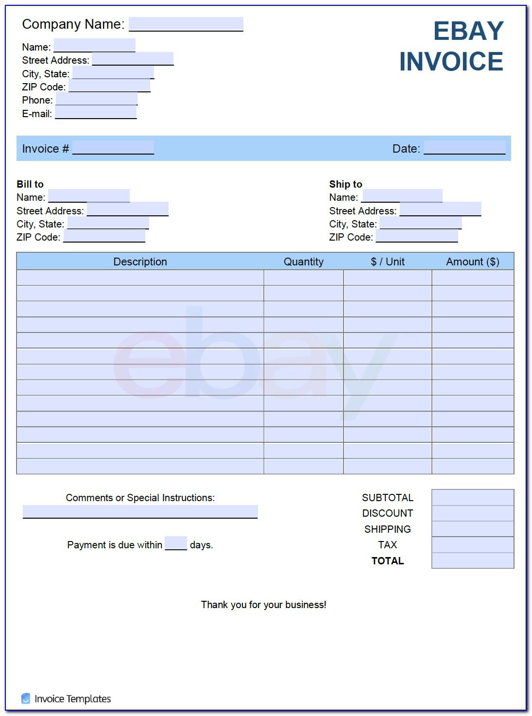 Ebay Vat Invoice Template