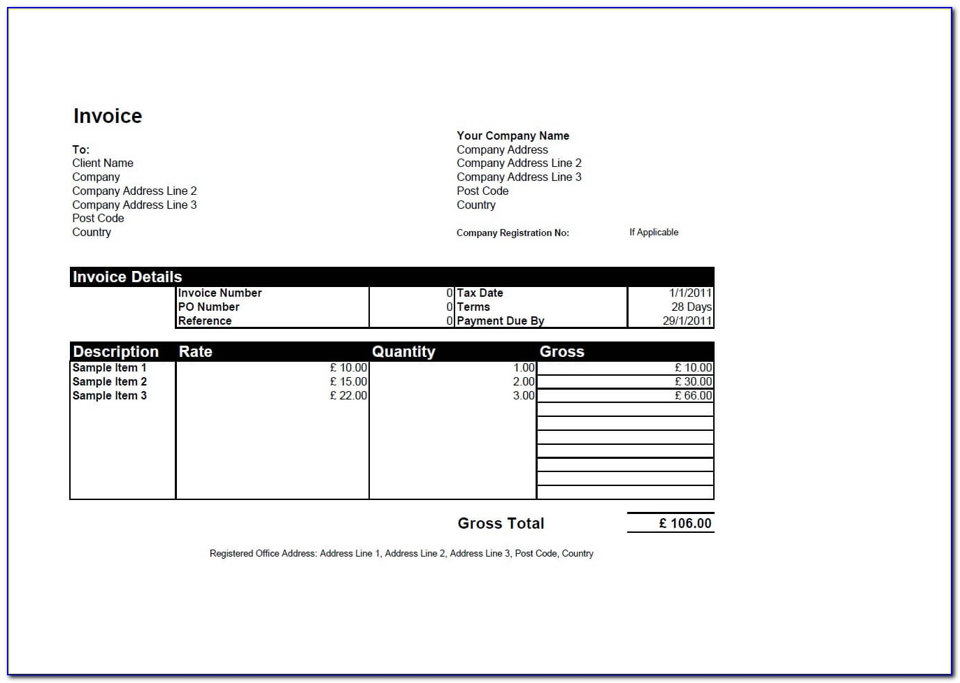Editable Invoice Template Download