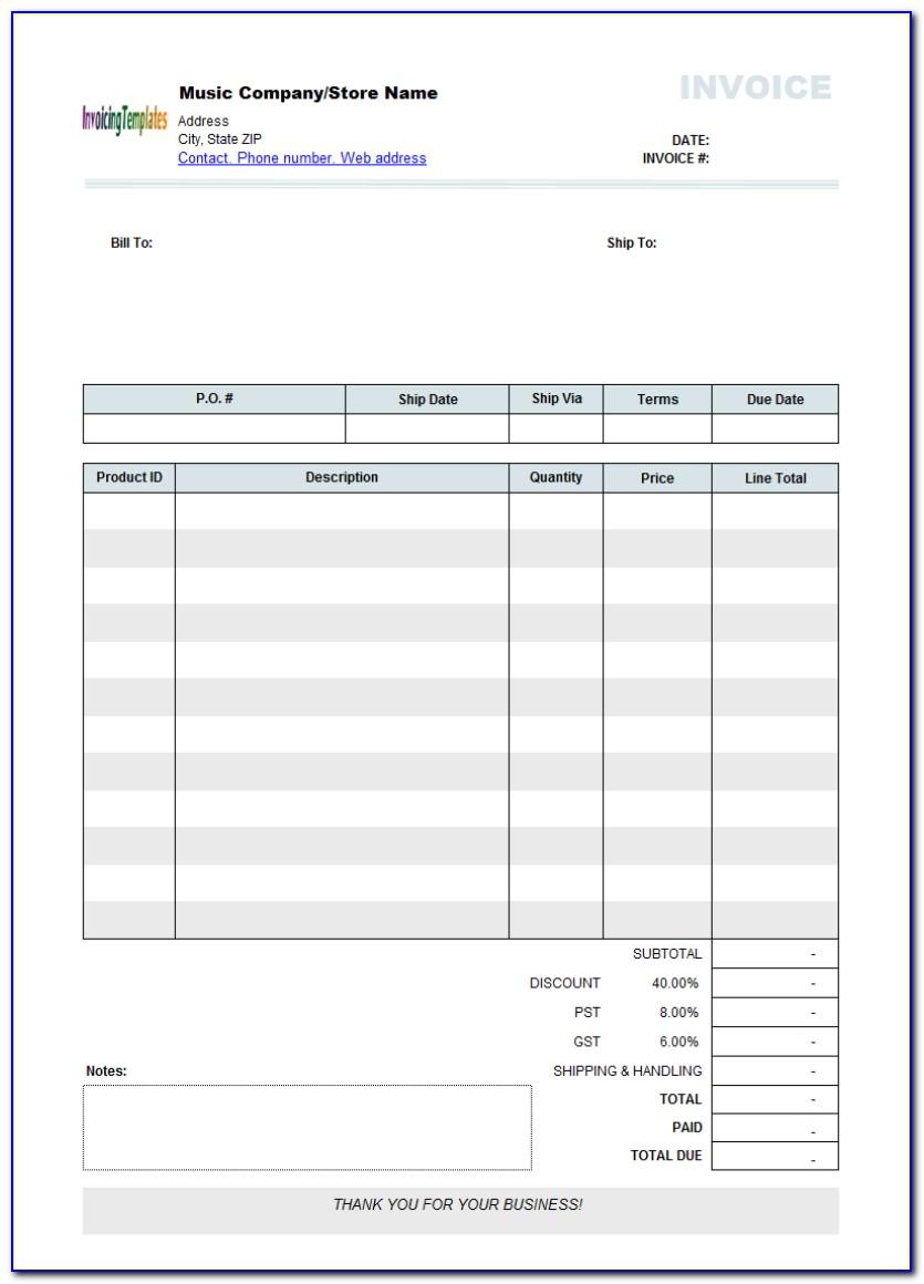 Editable Pdf Invoice Template Free