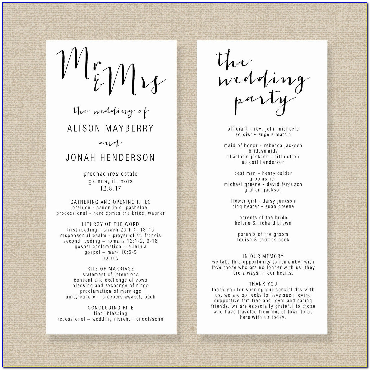 Editable Wedding Program Templates
