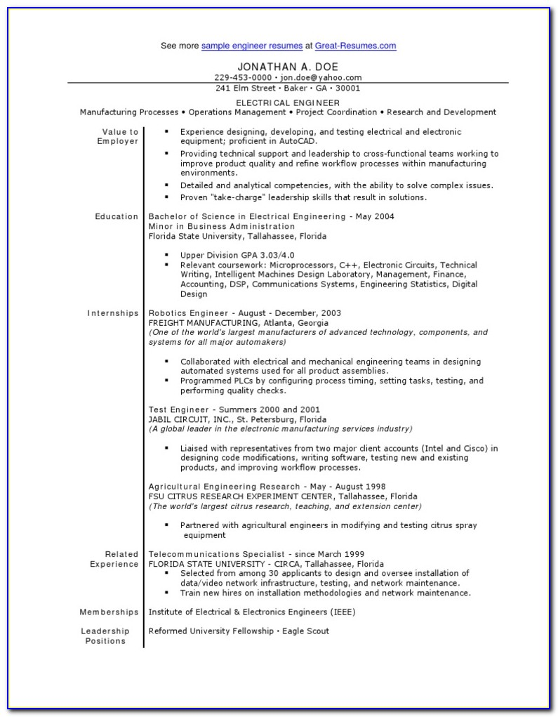 Electrical Engineering Resume Samples Entry Level