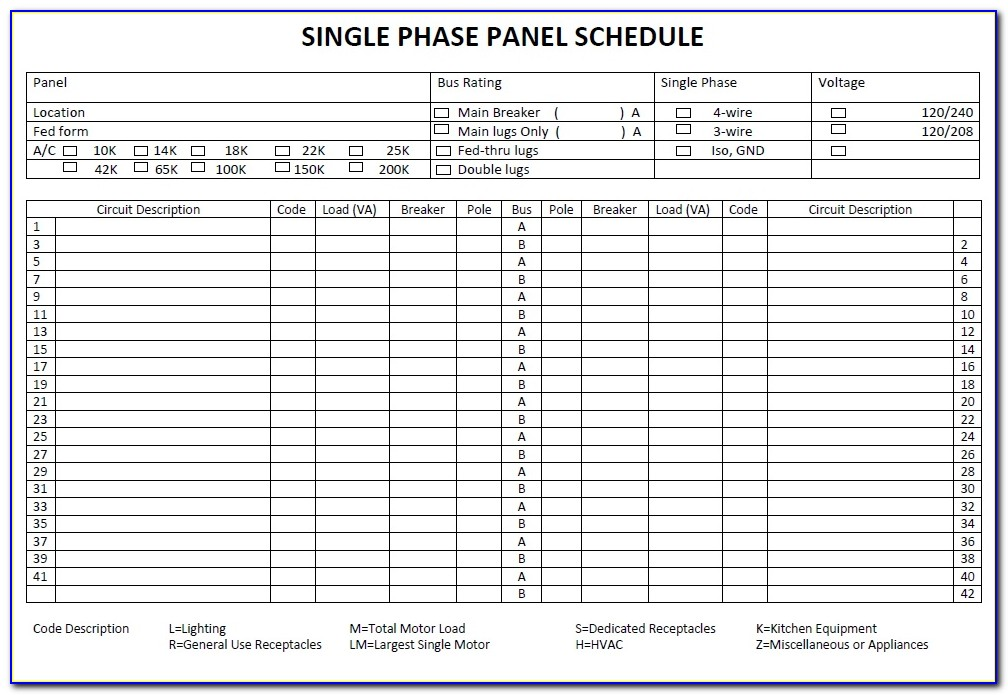 Electrical Panel Schedule Template Software