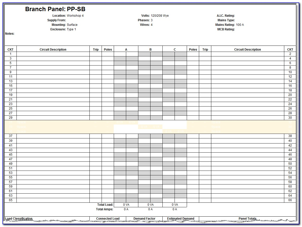 Electrical Panel Template Word