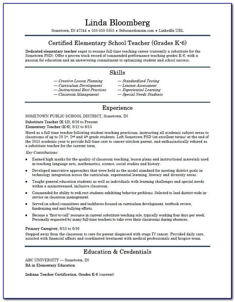 Elementary Teacher Resume Templates