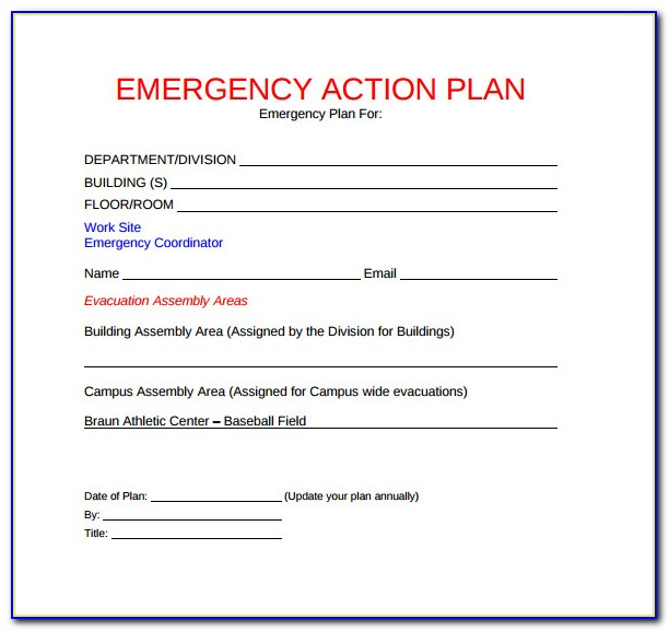 Emergency Action Plan Template Australia