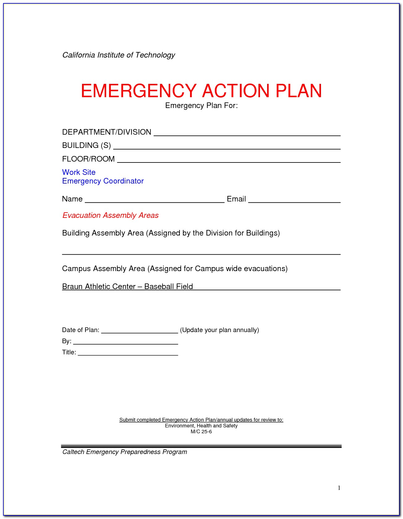 Emergency Action Plan Template For Small Business