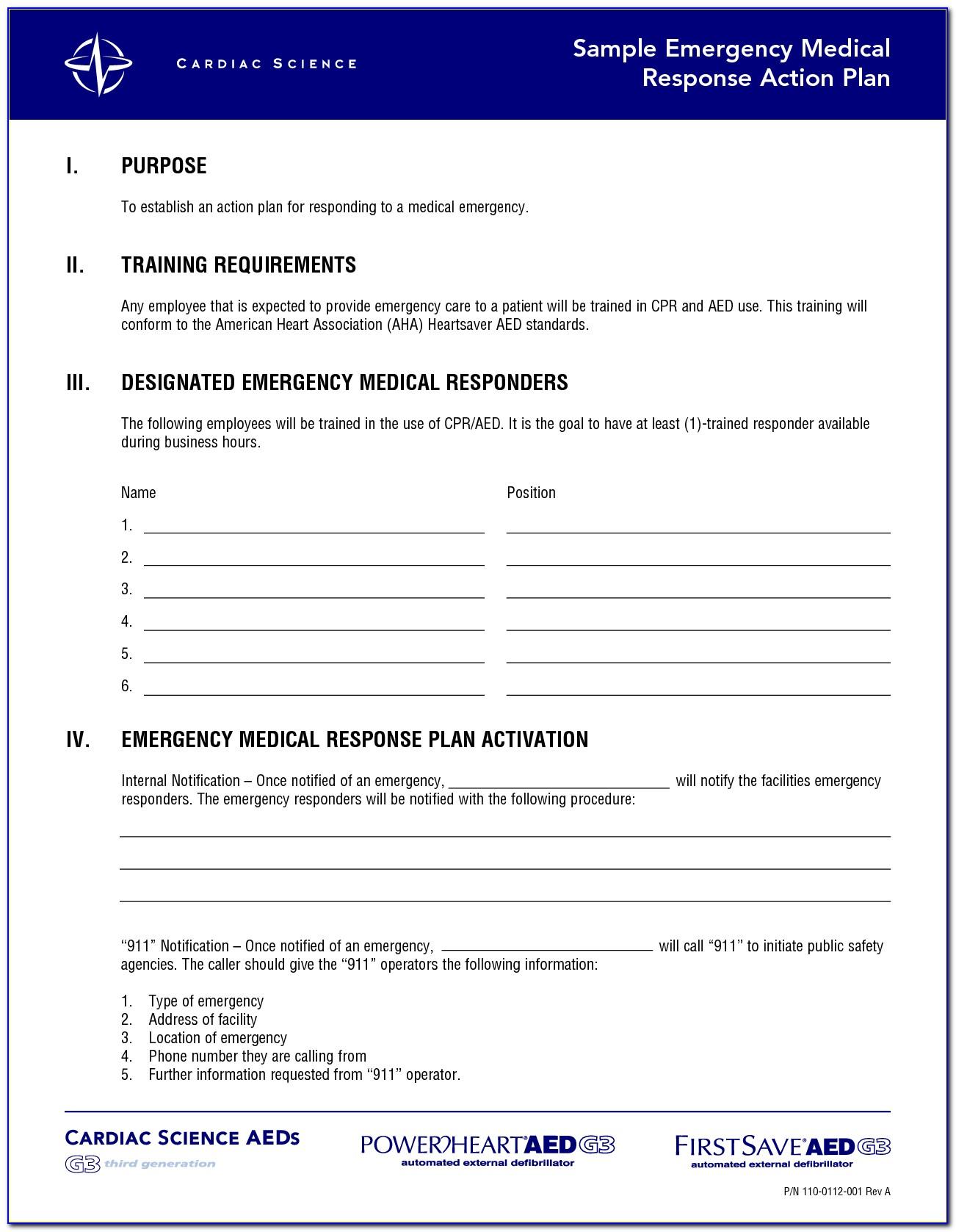 Emergency Action Plan Template Padi