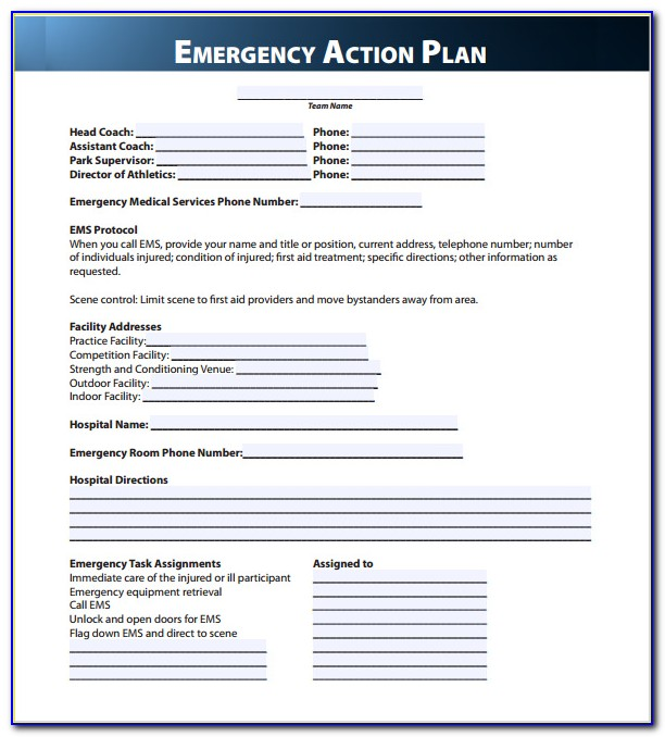Emergency Action Plan Template Pdf