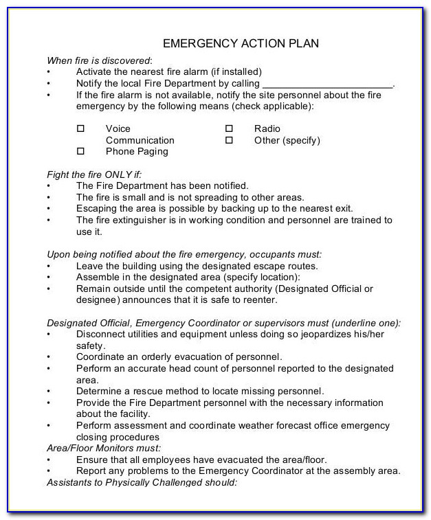 Emergency Action Plan Template Sports