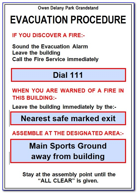Emergency Evacuation Plan Example Nz