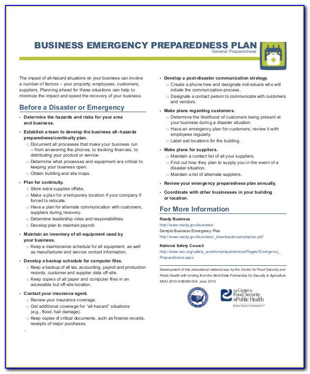 Emergency Preparedness And Response Plan Example