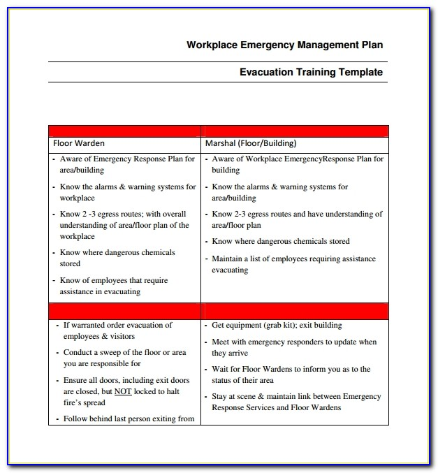 Emergency Preparedness And Response Plan Template