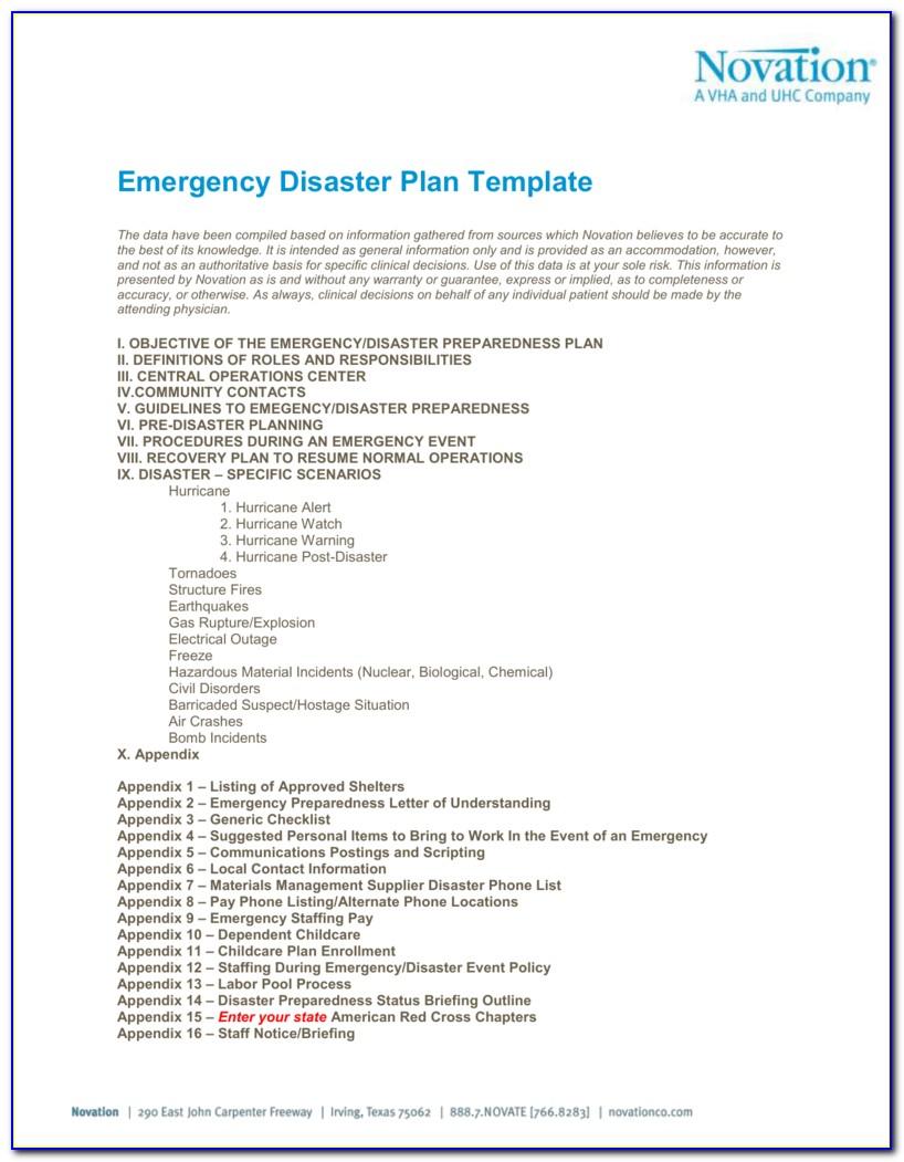 Emergency Preparedness Plan Template Ontario