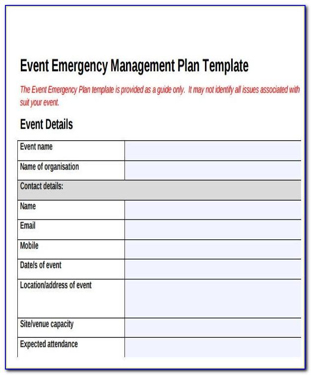 Emergency Preparedness Plan Template Uk
