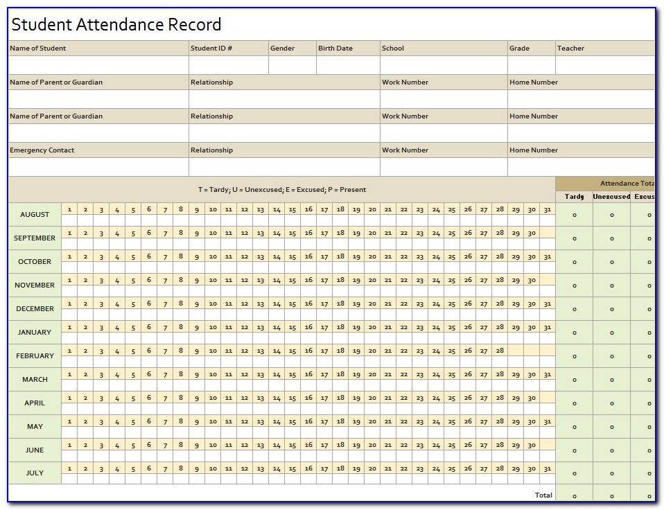 Employee Attendance Record Form Excel