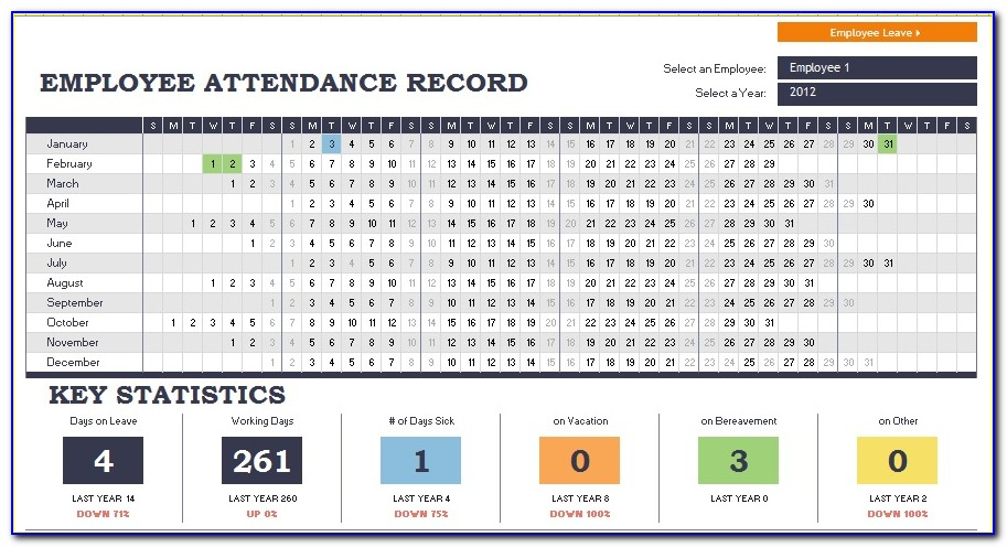 Employee Attendance Record Template Excel 2016