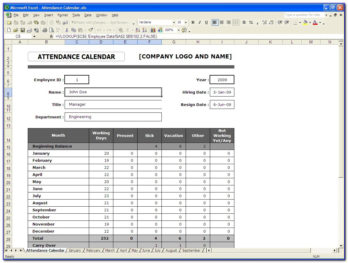 Employee Attendance Record Template Excel With Time