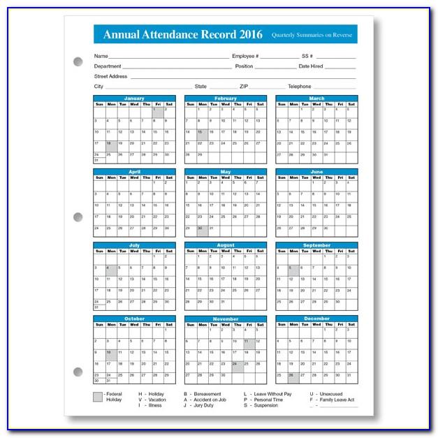 Employee Attendance Tracker Excel Template 2019