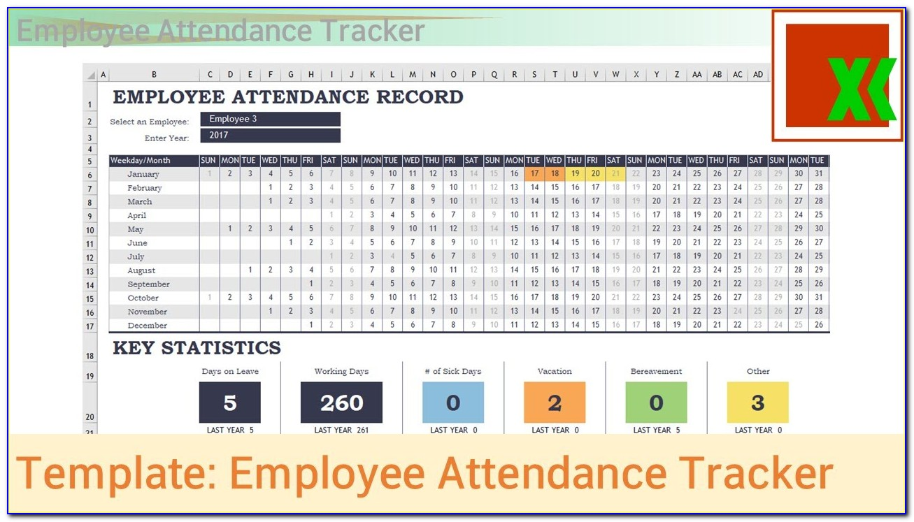 Employee Attendance Tracker Template Free Excel Template By Microsoft