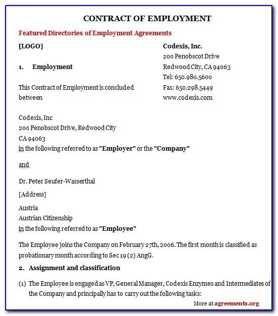 Employee Contract Agreement Doc
