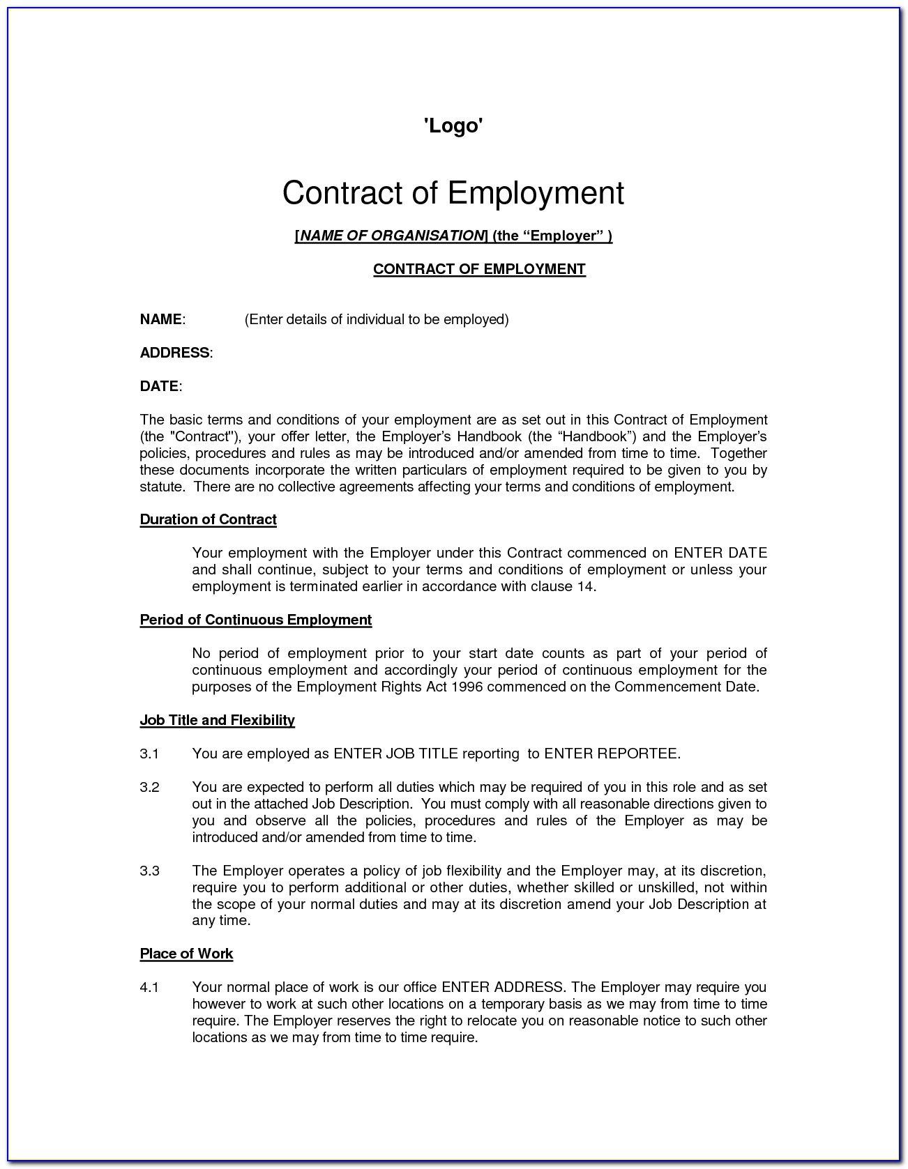 Employee Contract Sample Pdf