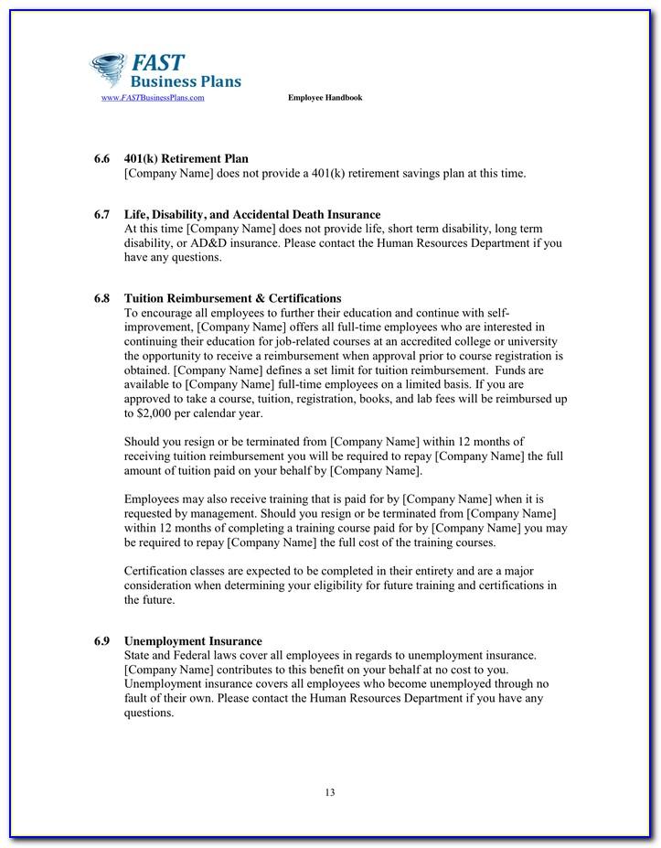 Employee Handbook 401k Policy Sample