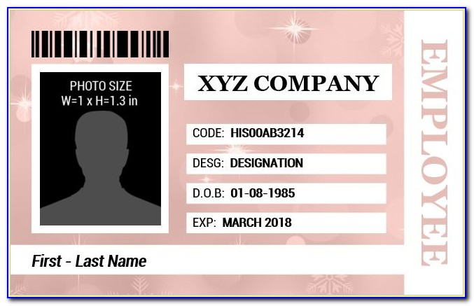 Employee Id Card Template Free Download Psd