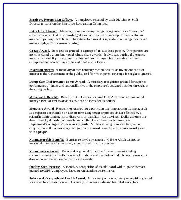 Employee Recognition Award Sample
