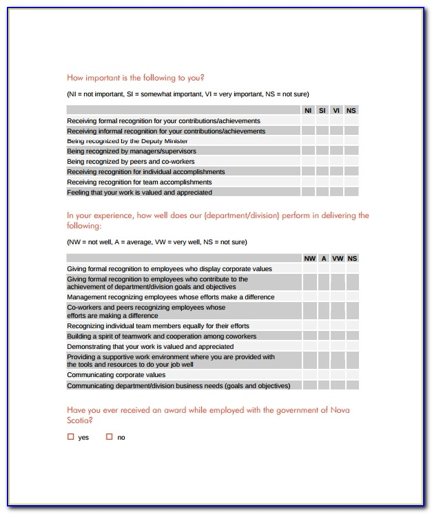 Employee Recognition Questionnaire Example