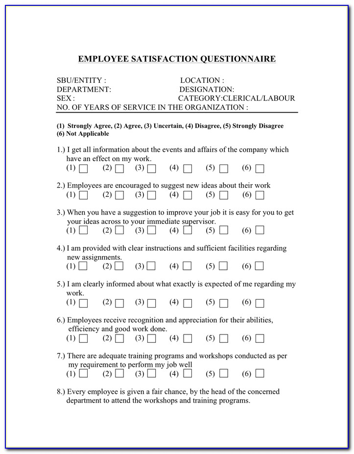 Employee Recognition Questionnaire Template
