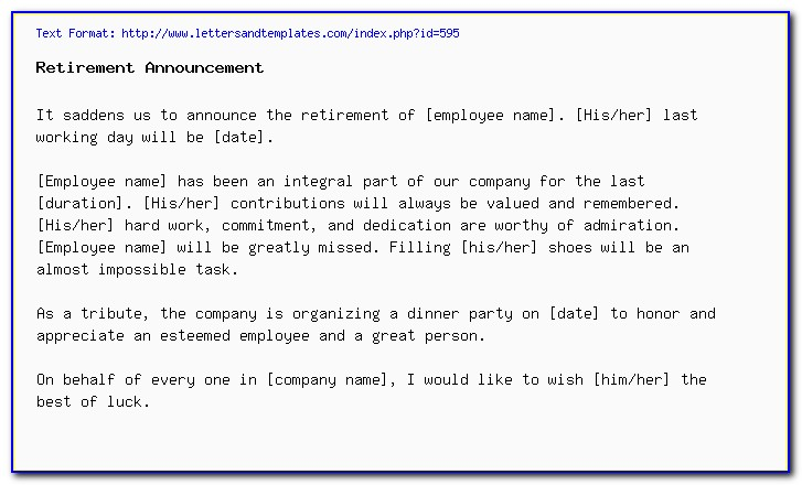 Employee Retirement Announcement Email Sample