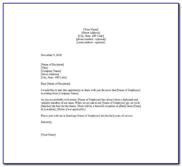 Employee Retirement Announcement Letter