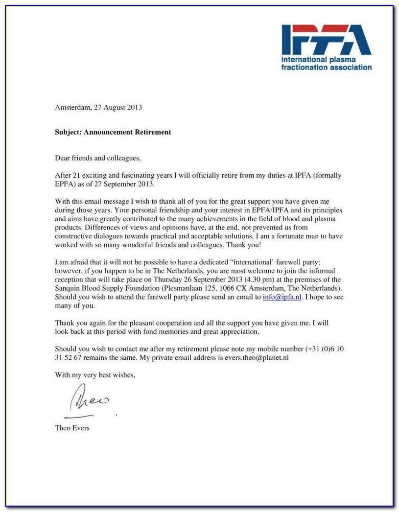 Employee Retirement Announcement Template