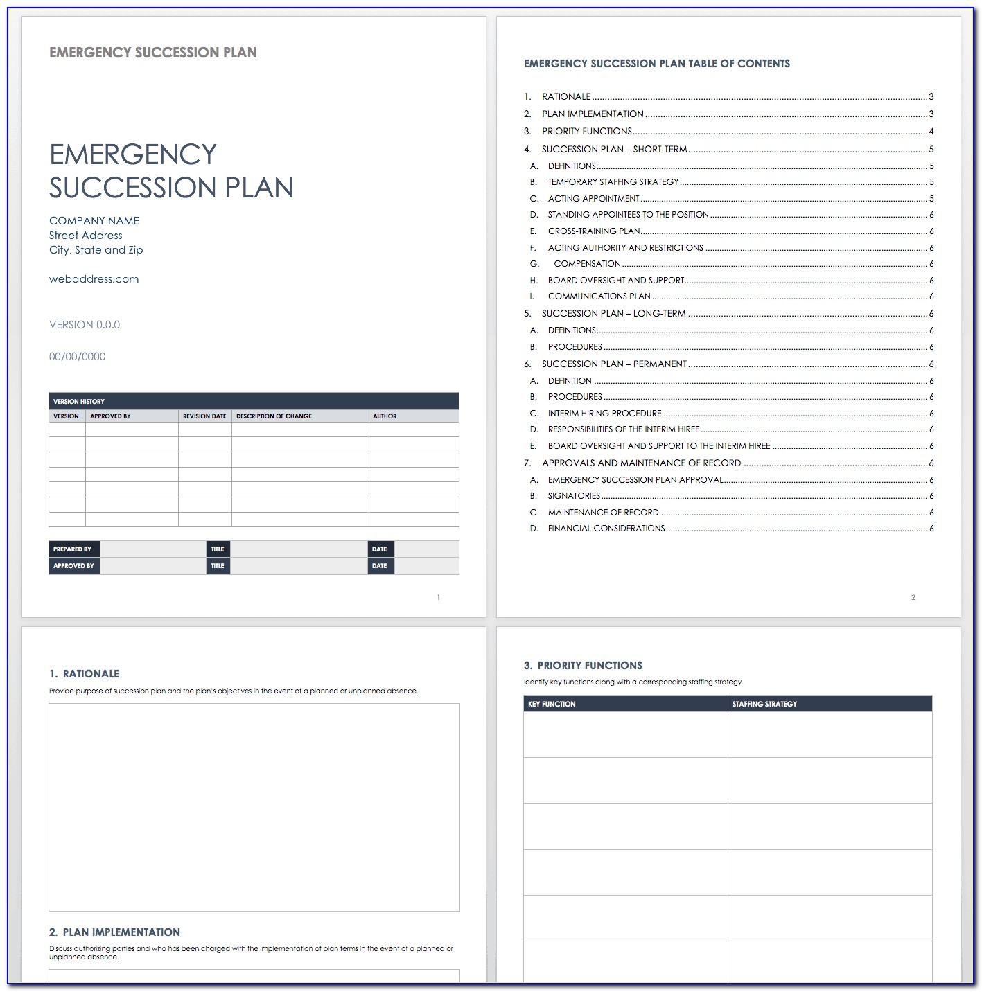 Employee Succession Plan Example