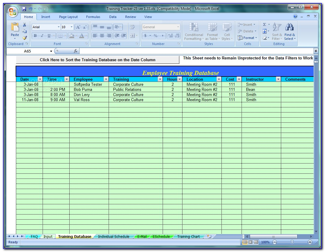 Employee Training Tracker Template Excel 2010