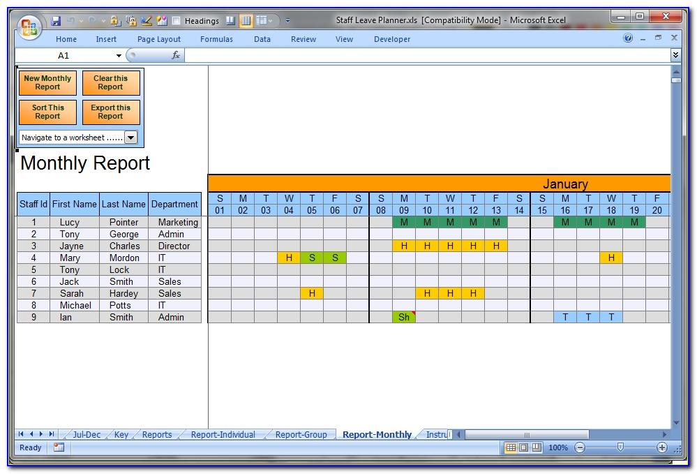 Employee Vacation Calendar Excel Template 2015