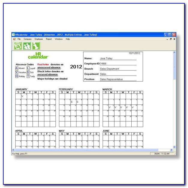 Employee Vacation Calendar Template 2013