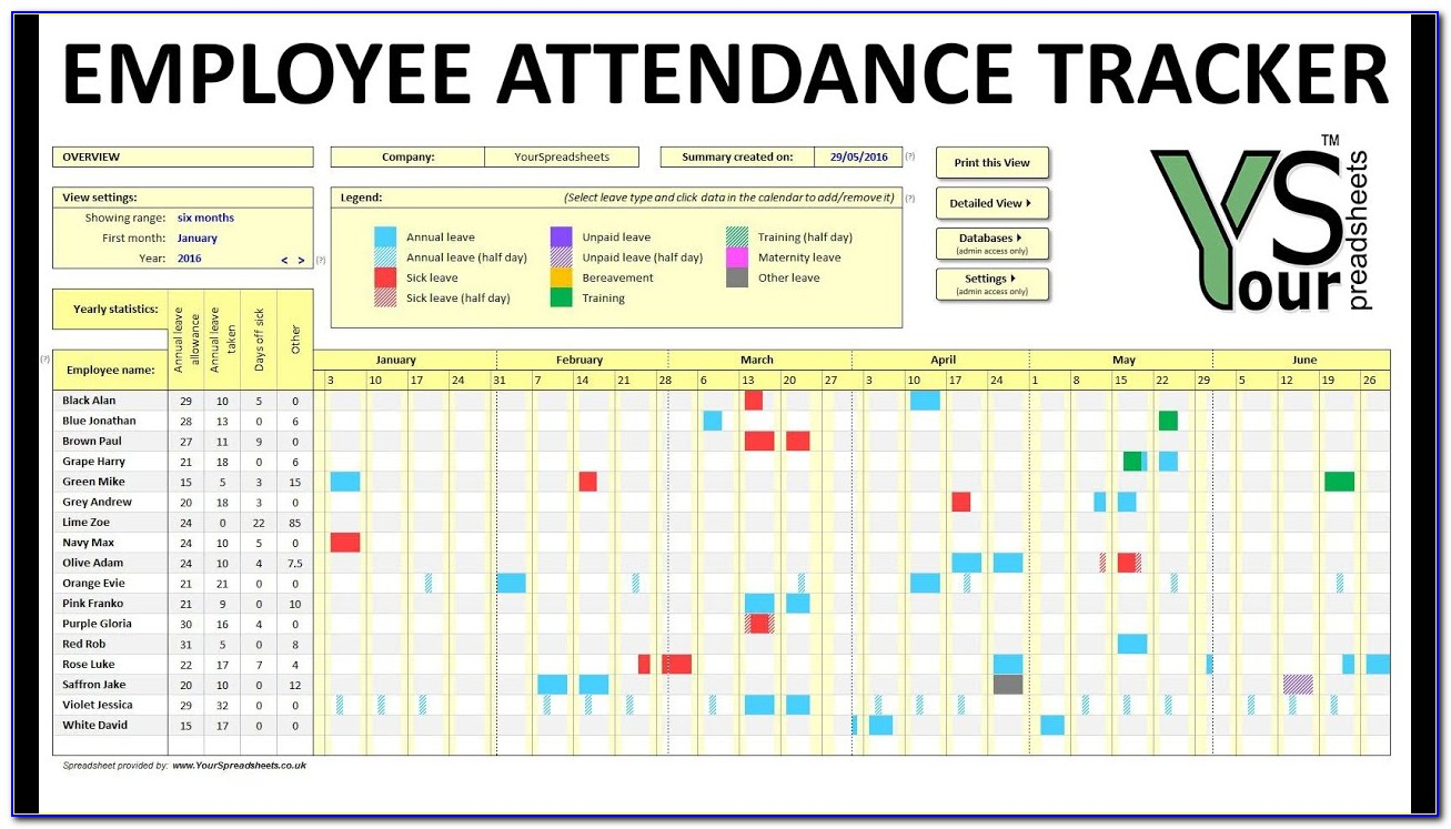 Employee Vacation Tracking Calendar Excel Template 2015