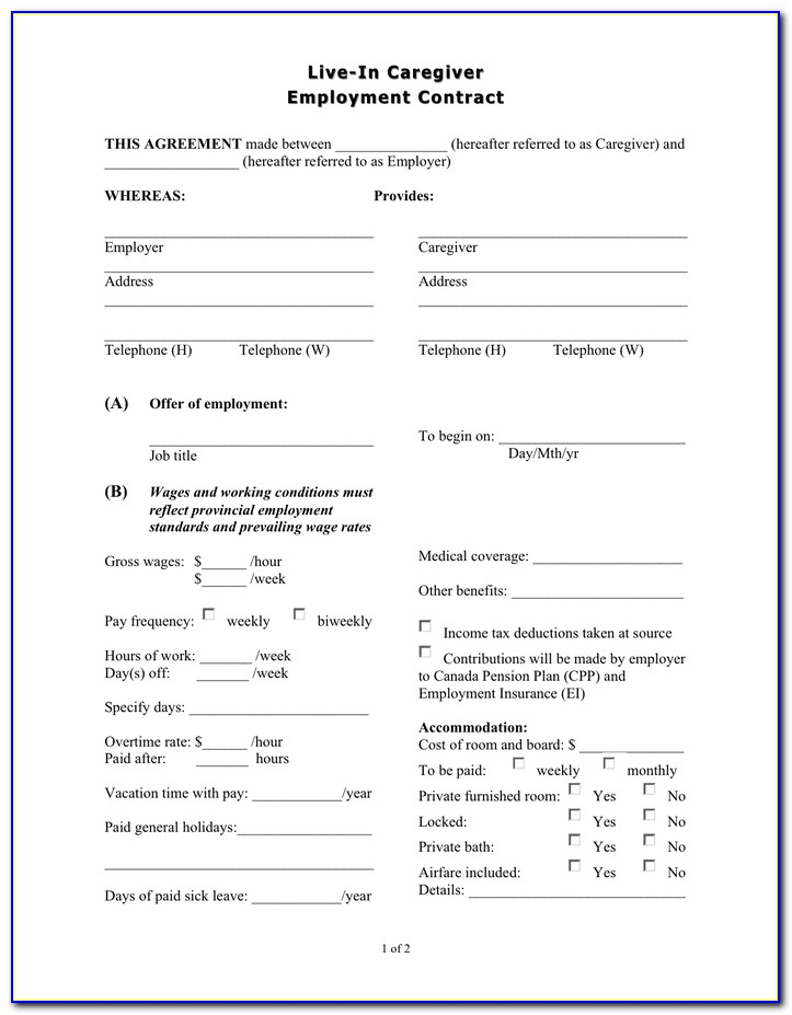 Employment Contract Agreement Doc