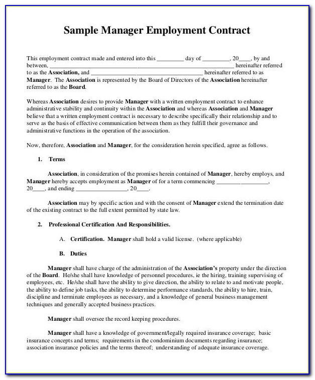 Employment Contract Template Word Malaysia