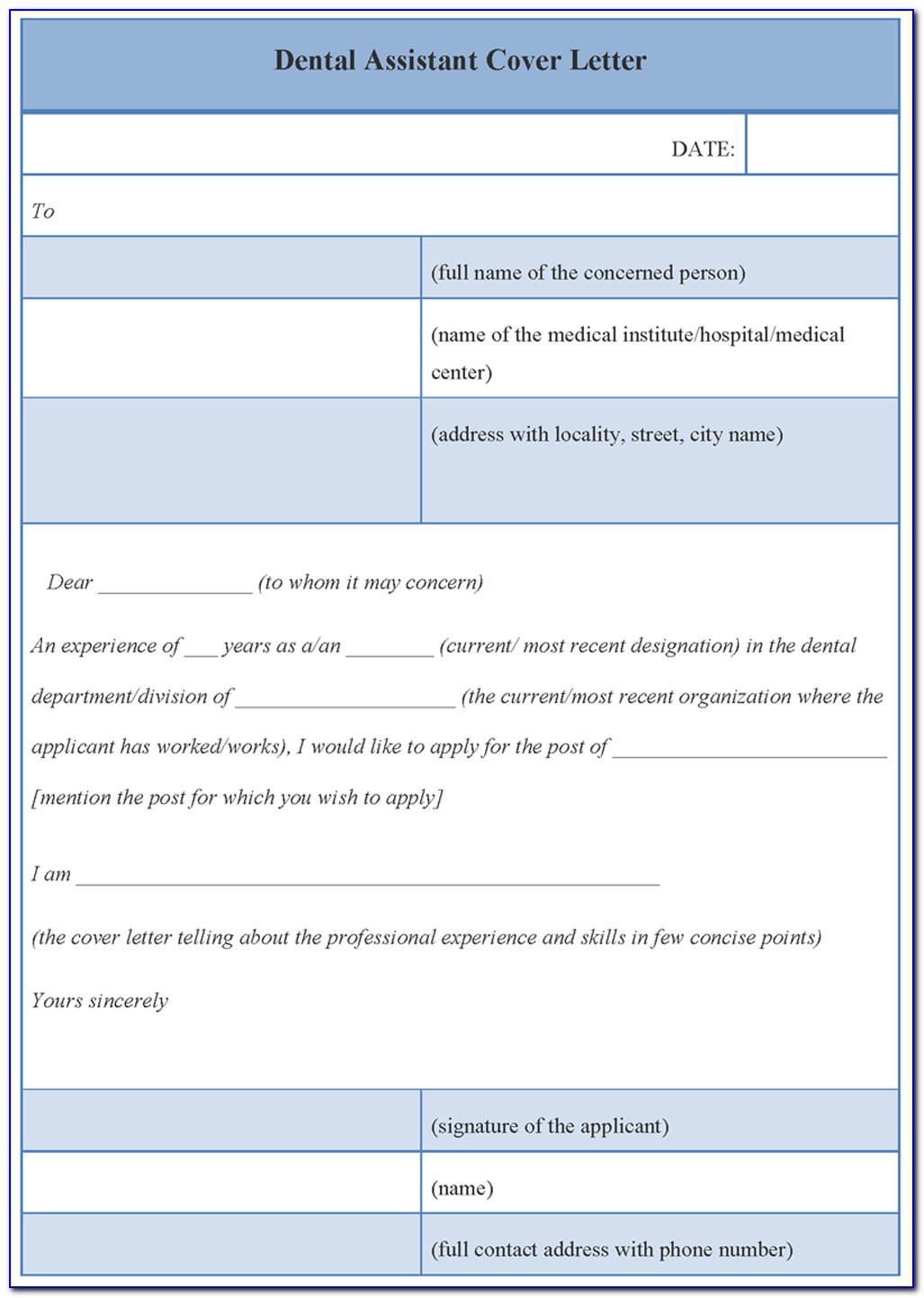 Entry Level Dental Assistant Cover Letter Template