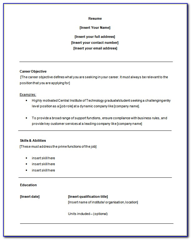 Entry Level Resume Templates Pdf