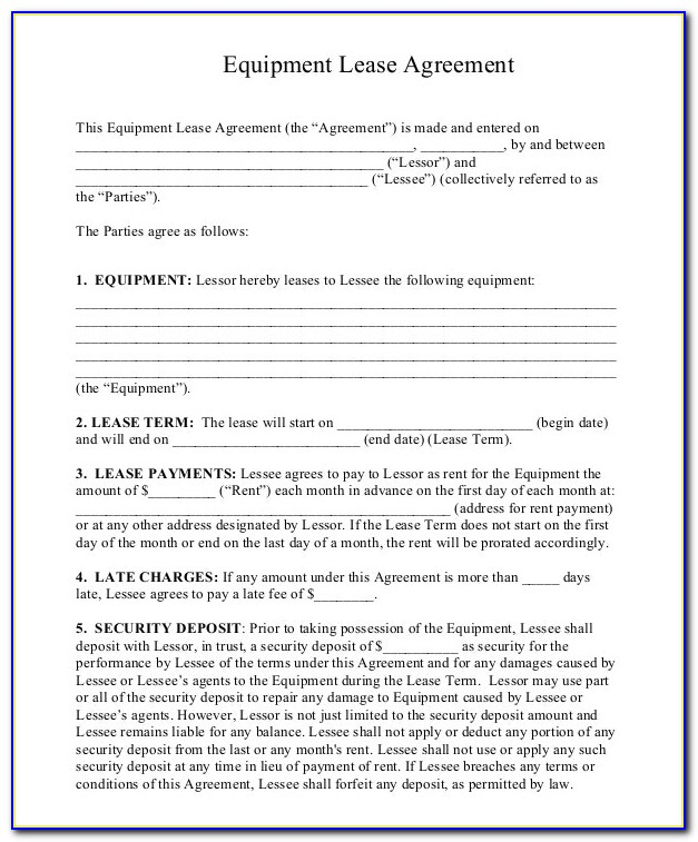 Equipment Lease Agreement Forms